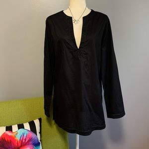 Michael Kors Black Split Neck Tunic Top B9